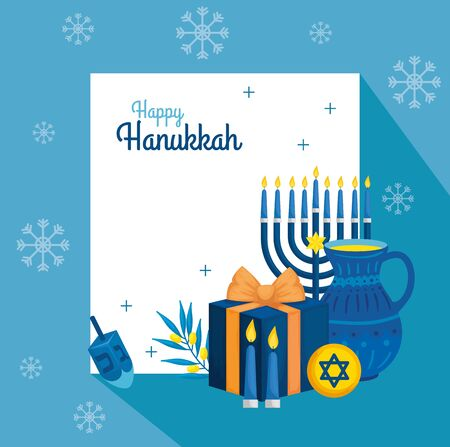 happy hanukkah with teapot and decoration vector illustration design