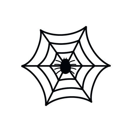 halloween spiderweb with insect isolated icon vector illustration design