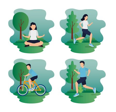 set scenes of healthy lifestyle with athletes in park vector illustration design