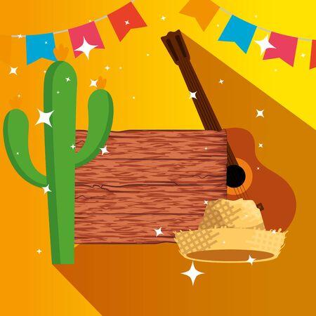 Emblème en bois avec cactus et illustration vectorielle de chapeau
