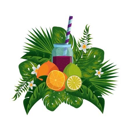 juice fruits in pot with straw and tropical floral decoration vector illustration design Ilustração