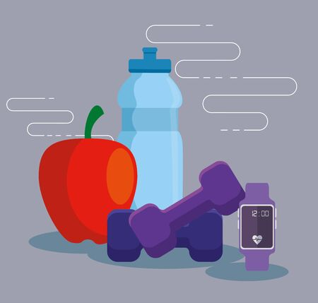 water bottle with apple fruit and dumbbells with smartwatch over gray background, vector illustration