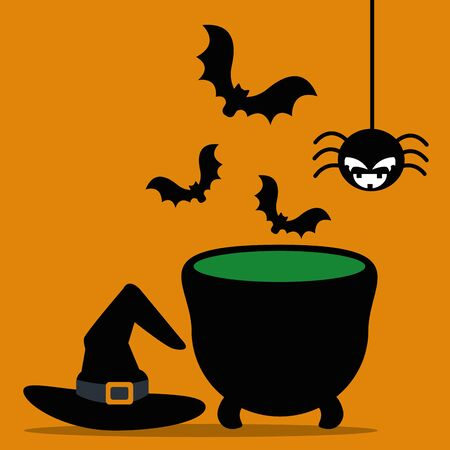 halloween cauldron with hat witch and icons vector illustration design