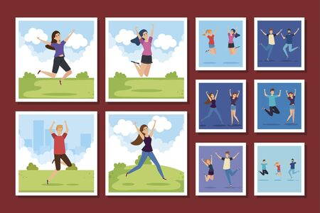 bundle of group teenager happy vector illustration design