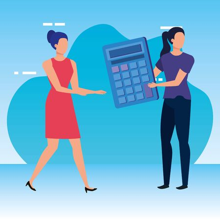 young women with calculator math vector illustration design