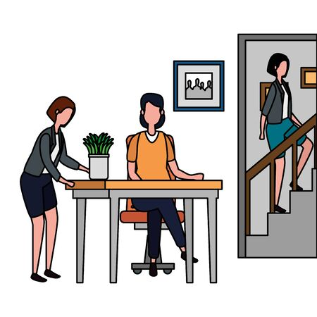 women group climbing the stairs in house place vector illustration design