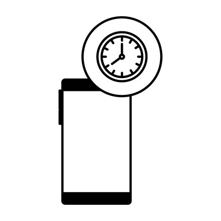 smartphone device with time clock vector illustration design