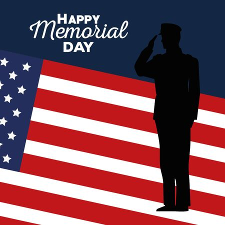 soldier with usa flag to celebration holiday vector illustration
