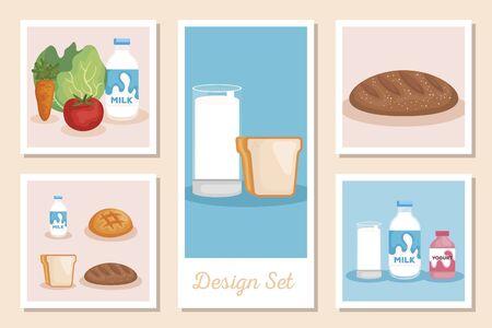 set designs of healthy food vector illustration design