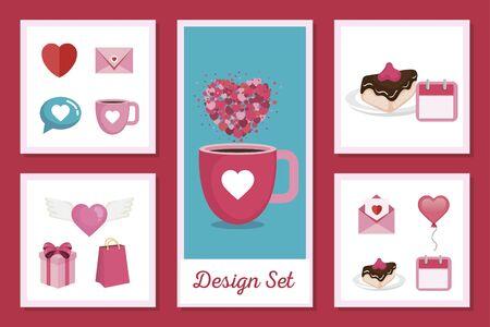 set designs of love with icons decorative vector illustration design  イラスト・ベクター素材