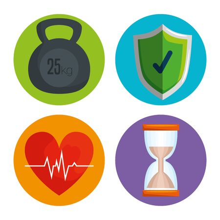 set labels hourglass with dumbbells with shield security and heartbeat vector illustration