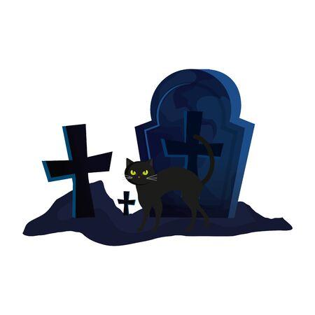 halloween tomb with cat animal vector illustration design