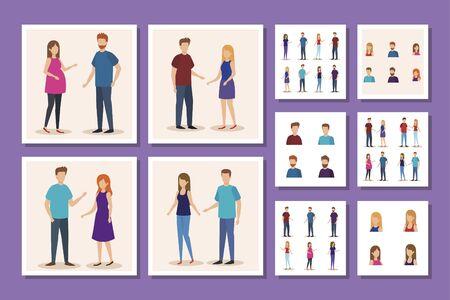 bundle of group young people avatar character vector illustration design Vektorgrafik