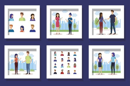 bundle with set designs of young people talking vector illustration design