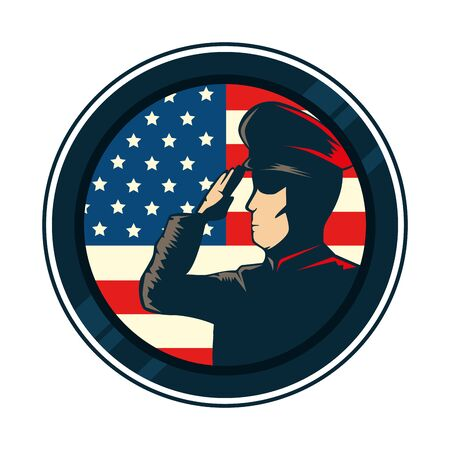 man soldier with united states flag in frame circular vector illustration design