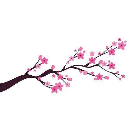 chinese tree branch with flowers vector illustration design 版權商用圖片 - 136847280