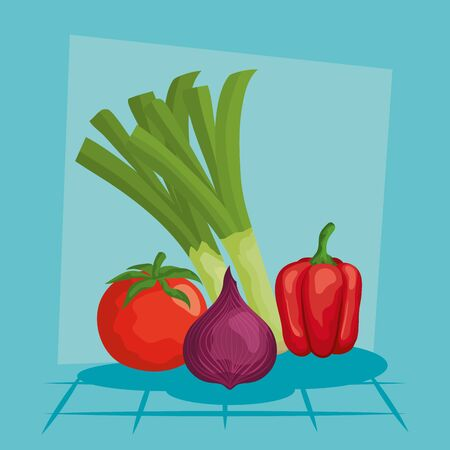 leek onion pepper and tomato design, Vegetable organic food healthy fresh natural and market theme Vector illustration
