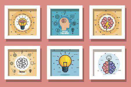 Establecer diseños de salud mental día, diseño de ilustraciones vectoriales Ilustración de vector