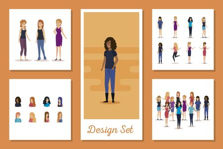 set designs of young women vector illustration design