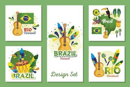 set designs of brazil carnival with icons vector illustration design Illustration