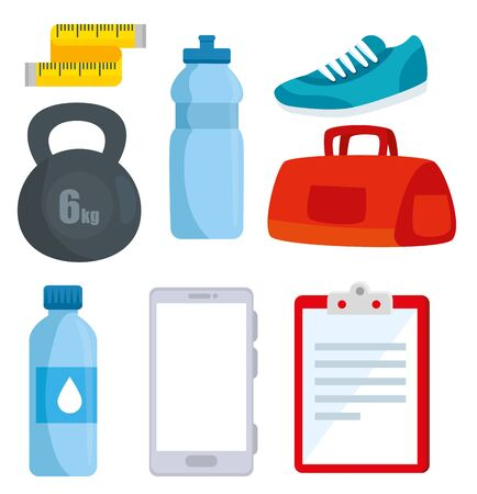 set of healthy lifestyle and fitness sport activity over white background, vector illustration