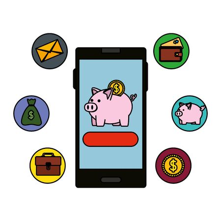 smartphone with piggy savings and ecommerce icons vector illustration design