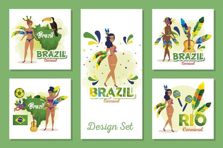 set designs of brazil carnival with women and icons vector illustration design Illustration