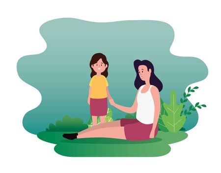 woman mother with her cute girl dauther and bushes plants, vector illustration