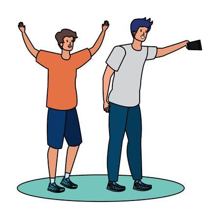 young men friends taking a selfie vector illustration design 일러스트