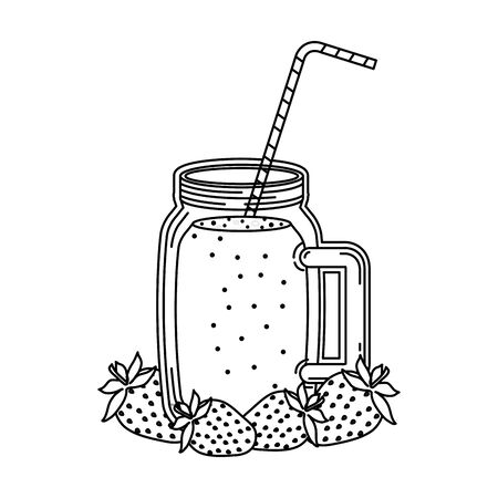 juice strawberry fruit beverage jar with straw vector illustration design Ilustracja