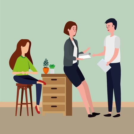 people in office workplace scene icons vector illustration design