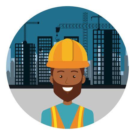 afro builder constructor on workside character vector illustration design