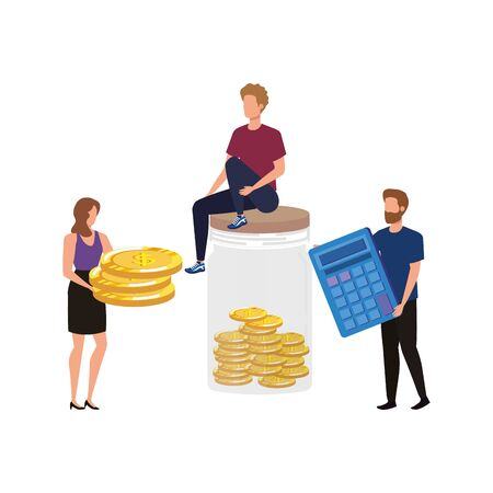group of people with coins and calculator vector illustration design