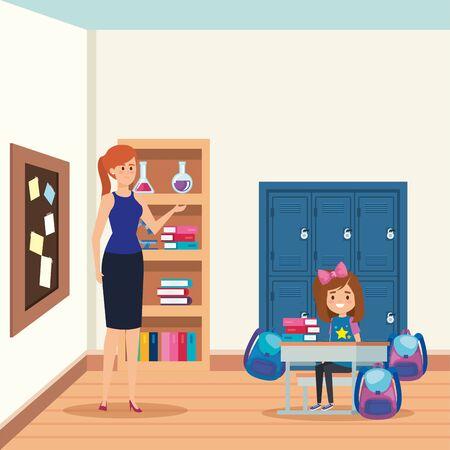 female teacher with student girl in the school scene vector illustration design