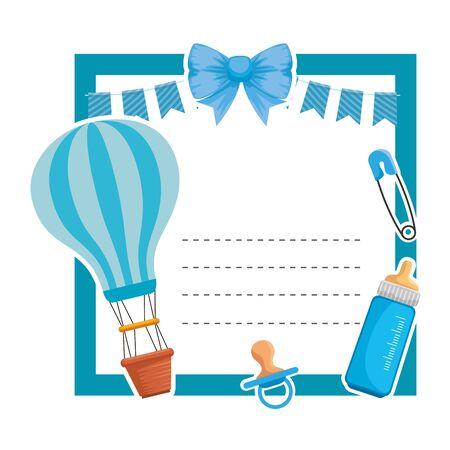 baby shower card with balloon helium and milk bottle vector illustration design Stock Illustratie
