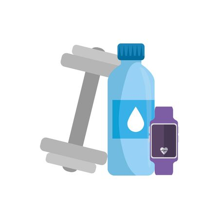 dumbbell with bottle water and smartwatch sport vector illustration design Illusztráció