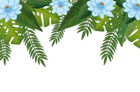 decoration of flowers with leafs isolated icon vector illustration design