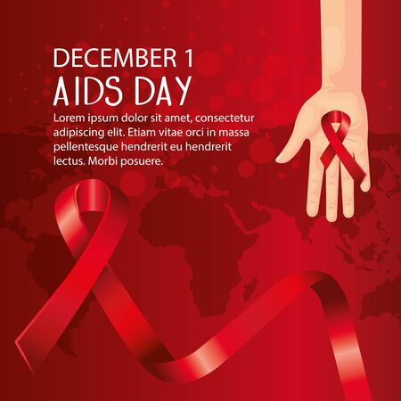 poster of world aids day with hand and ribbons vector illustration design