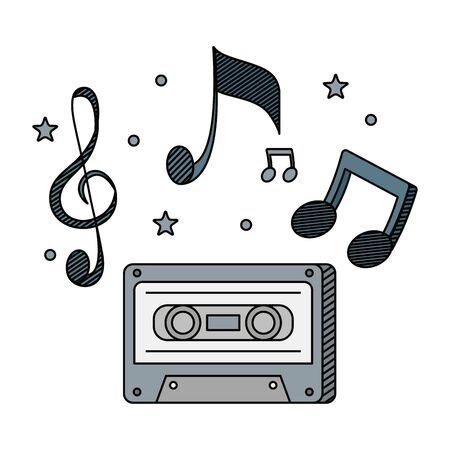audio cassette record with music notes vector illustration design