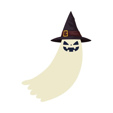 halloween ghost mystery with hat witch vector illustration design