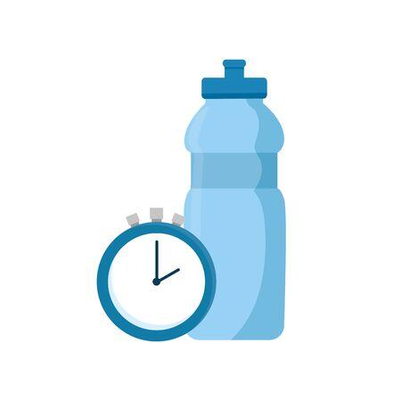 Bouteille d'eau avec chronomètre temps icône isolé design d'illustration vectorielle