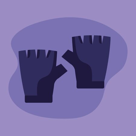 gloves object over purple background to fitness lifestyle, vector illustration Foto de archivo - 136822409