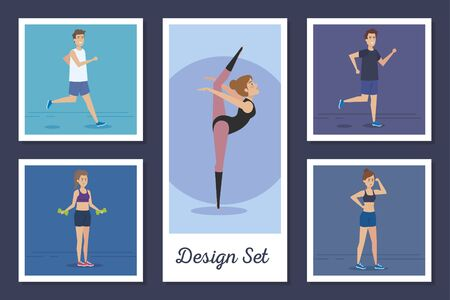 designs set of people practicing exercise vector illustration design  イラスト・ベクター素材