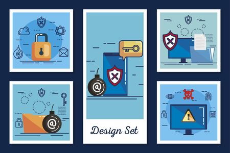 design set cyber security and icons vector illustration design