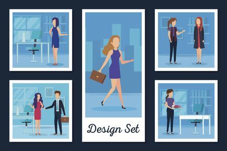 designs set business people and workplaces vector illustration design