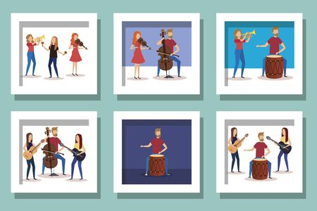 bundle of people with instruments musical vector illustration design