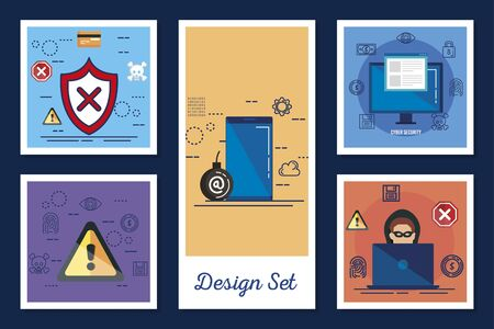 design set cyber security and icons vector illustration design Stockfoto - 136847358