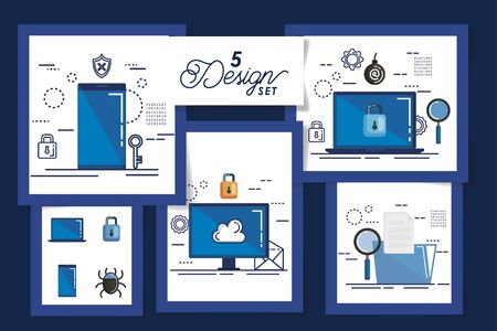 five designs of cyber security and set icons vector illustration design Ilustração