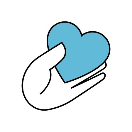 hand with heart isolated icon illustration design