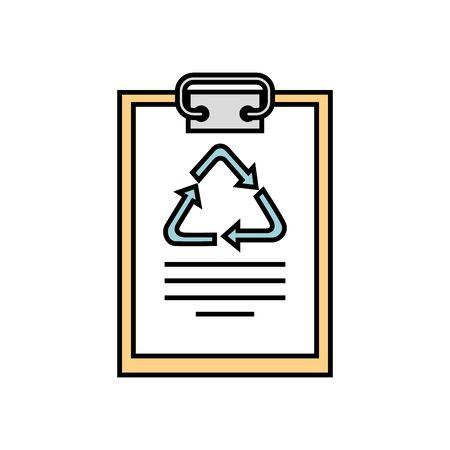 clipboard and paper with arrows symbol recycle vector illustration design Archivio Fotografico - 136847438